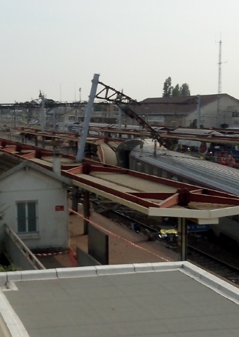A view of the Bretigny sur Orge train station, south of Paris, after a train derailed Friday.