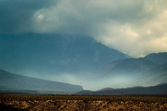 Afternoon storm clouds over Mt. Charleston area as seen Friday. Flash flooding in the areas around Carpenter 1 Fire burn area have been reported.