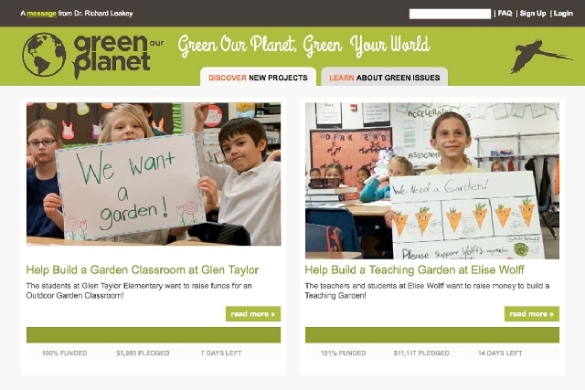 This screen capture from the GreenOurPlanet.org website shows the progress of school projects that began quietly in March and have gathered $76,000 in funds at 15 Clark County elementary schools t ...