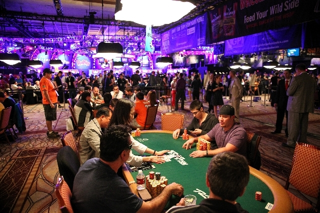 Seats are empty as players are eliminated during the fourth day of the World Series of Poker Main Event at the Rio Convention Center in Las Vegas on Friday.