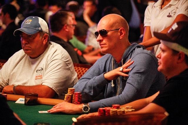 Greg Mueller, two-time World Series of Poker bracelet winner, plays during the fourth day of the World Series of Poker Main Event at the Rio Convention Center in Las Vegas on Friday. Mueller resem ...
