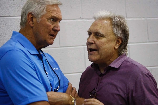NBA Summer League founder Warren LeGarie, right, talks with Golden State Warriors executive and basketball legend Jerry West at Cox Pavilion on Friday. LeGarie, a San Francisco-based NBA coach age ...