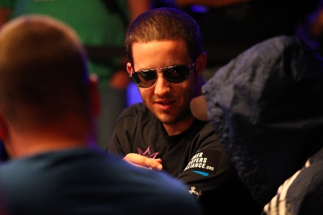 Greg Merson plays during the fourth day of the World Series of Poker Main Event at the Rio Convention Center in Las Vegas on Friday.