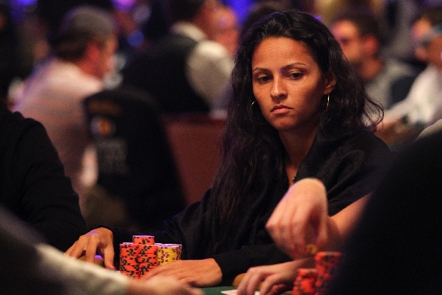 Sarah Herzali, 25, of Marseille, France, eyes her opponents during the World Series of Poker Main Event on Friday at the Rio Convention Center. Herzali and seven other women were among the 283 pla ...