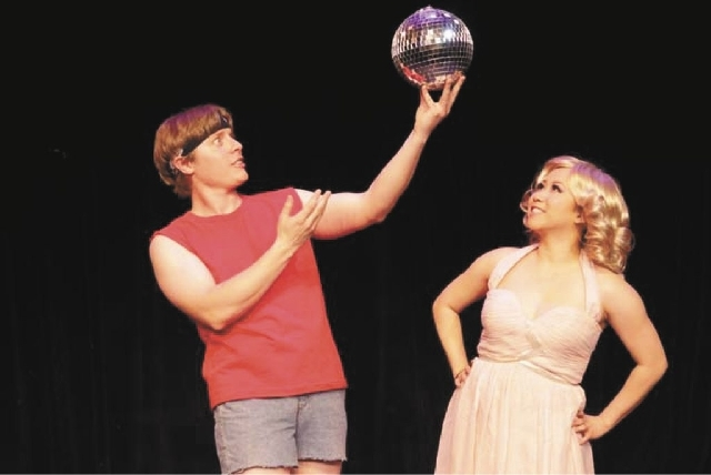 "Michael Drake portray's Sonny Malone and Chistine De Chavez plays his muse, Clio/Kara, in the production of ""Xanadu"" at the Las Vegas Little Theatre through July 28."