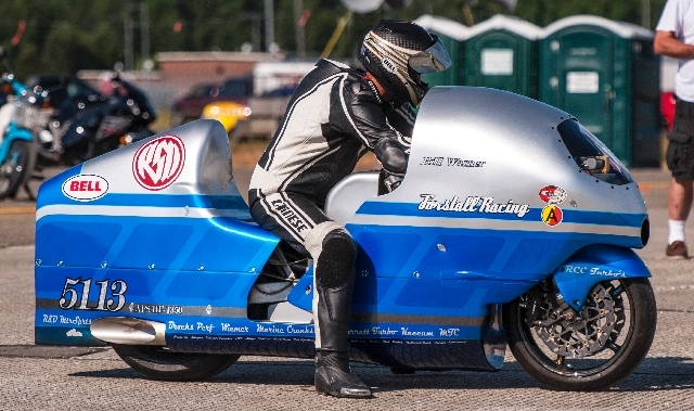 Bill Warner, 44, of Wimauma, Fla., waits to make a high-speed run at The Maine Event on Sunday, July 14, in Limestone, Maine. Warner, who was trying to top 300 mph, died later Sunday after losing  ...
