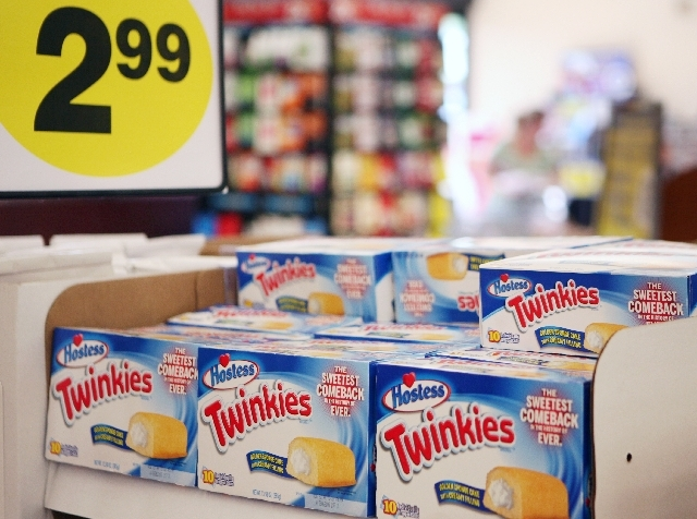 Hostess Twinkies are for sale at Smith's grocery store located at 850 S. Rancho Drive Monday in Las Vegas. Apollo Global Management and Metropoulos & Company purchased the snack cakes after Hostes ...