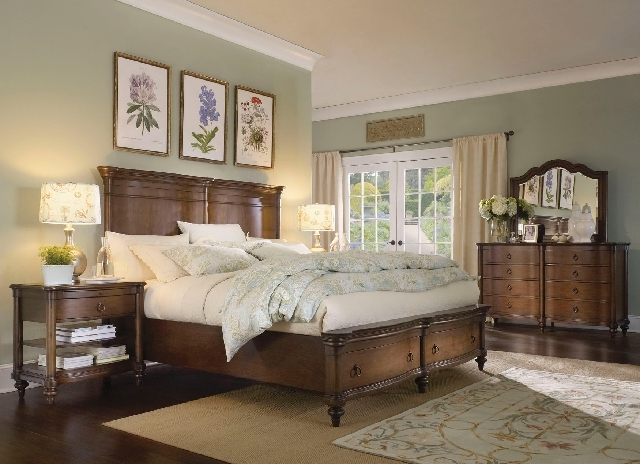 The Hathaway Hill bedroom collection from aspenhome is made of reclaimed cherry wood with a black truffle finish.