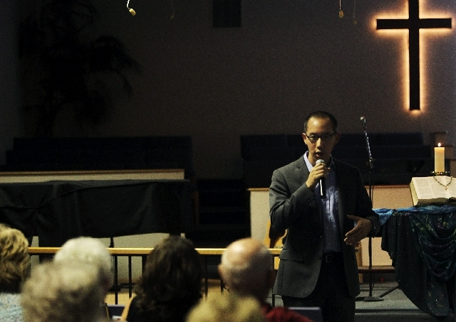 Robert Hoo, community organizer for Nevadans for the Common Good, addresses his congregation at Trinity United Methodist Church in Las Vegas.