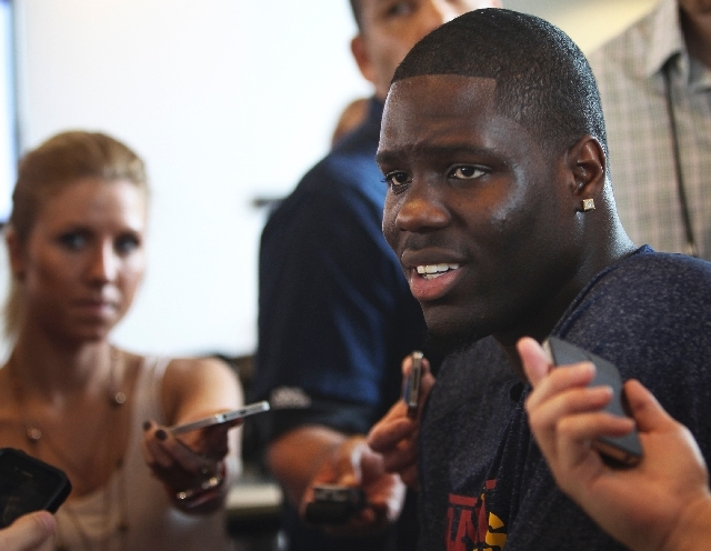 First overall pick in the recent NBA draft and ex-UNLV player Anthony Bennett answers question during a press conference at the Mendenhall Center on the UNLV campus in Las Vegas on Tuesday.