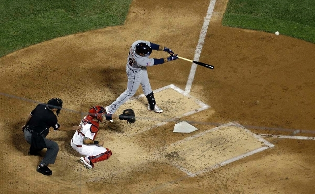 The American League's Miguel Cabrera, of the Detroit Tigers, hits a double during the fourth inning of the MLB All-Star baseball game on Tuesday in New York.