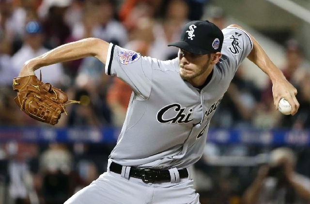 The American League's Chris Sale, of the Chicago White Sox, pitches during the second inning of the MLB All-Star baseball game on Tuesday.