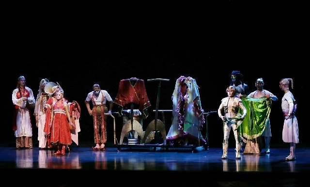 """A photo taken during Tuesday night's performance of """"Ka"""" at the MGM Grand in Las Vegas shows """"The Dressing-Ritual"""" scene. The audience stood before the show in an ovation, welcoming back the Cirqu ..."""