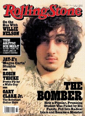 """In this magazine cover image released by Wenner Media, Boston Marathon bombing suspect  Dzhokhar Tsarnaev appears on the cover of the Aug. 1 issue of """"Rolling Stone."""""""