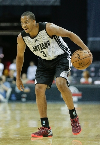 Portland Trail Blazers guard C.J. McCollum sets the offense against the Phoenix Suns in the second quarter of an NBA Summer League basketball game on Saturday in Las Vegas.