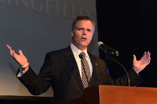 Jim Murren, chairman and CEO of MGM Resorts International, speaks Tuesday at a victory rally where several hundred people celebrated the winning vote in a citywide election to approve a casino and ...