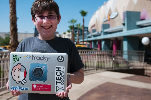 Ethan Duggan, 12, is photographed Wednesday at Panera Bread cafe in Henderson. Duggan is an app developer who will present his apps at SXSW conference at the Cosmopolitan in August. One of his app ...