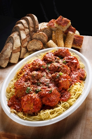 Spaghetti and meatballs are offered at Carmine's in Caesars Palace.