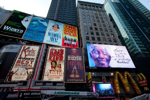 An electronic billboard announces Nelson Mandela's 95th birthday in New York's Times Square on Thursday.