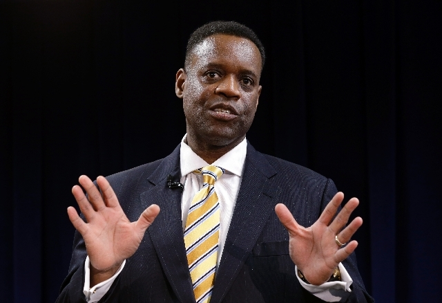 State-appointed emergency manager Kevyn Orr speaks in Detroit. Orr on Thursday asked a federal judge permission to place Detroit into Chapter 9 bankruptcy protection.