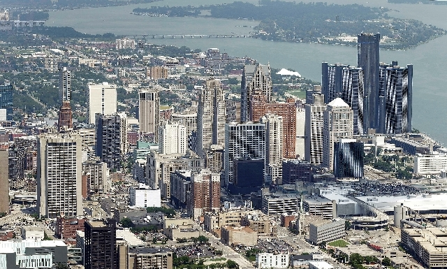 In this  aerial photo is the city of Detroit. On Thursday Detroit became the largest city in U.S. history to file for bankruptcy when State-appointed emergency manager Kevyn Orr asked a federal ju ...