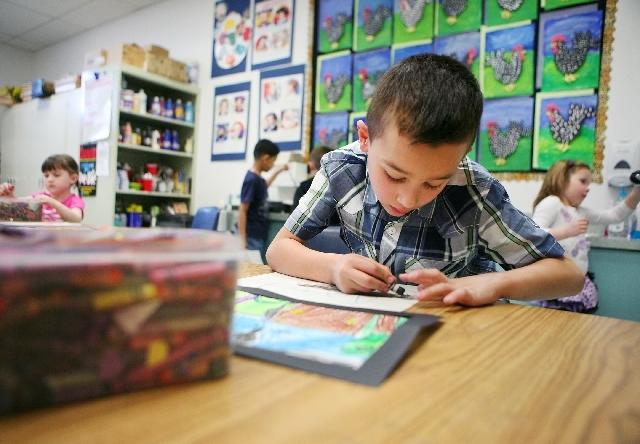 Diego Vergara-Zuber, 6, is in one of two all-day kindergarten classes offered at Allen Elementary School.