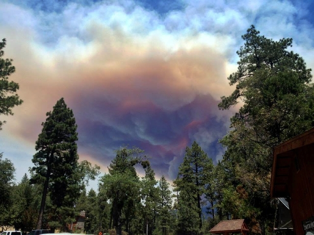 This July 17 image provided by Meagan Greene shows wildfire smoke near Idyllwild, Calif.