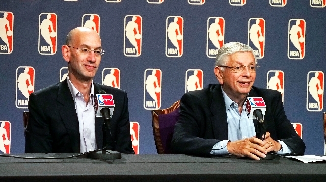 NBA deputy commissioner Adam Silver, left, and commissioner David Stern speak during a news conference following the board of governors meeting during the NBA Summer League in Las Vegas on Thursday.