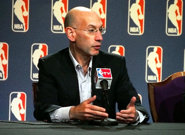 NBA deputy commissioner Adam Silver speaks during a news conference following the board of governors meeting during the NBA Summer League in Las Vegas on Thursday. Silver, who will take over for D ...