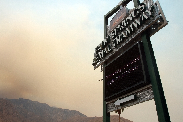 The Palm Springs Aerial Tramway is closed due to smoke from the Mountain Fire on Thursday.