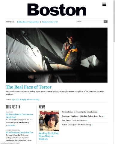 In this screen shot taken from the bostonmagazine.com website Friday, July 19 the site displays a photo of Boston Marathon bombing suspect Dzhokhar Tsarnaev with the red dot of a sniper's rifle la ...