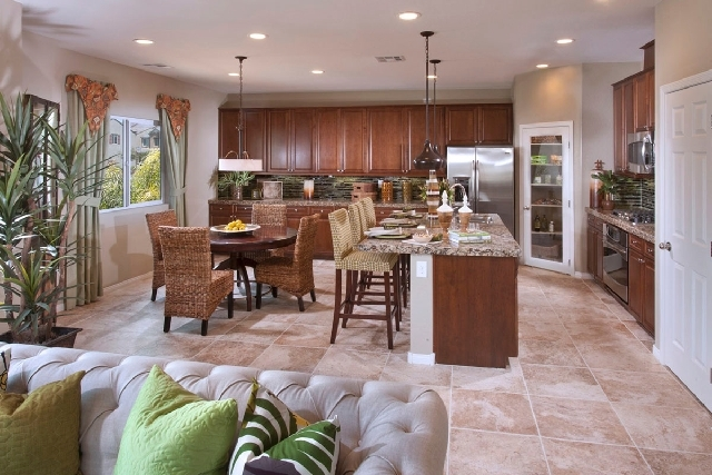 """The Taylor model at Ryland Homes' Monticello collection in Providence has an """"upside down"""" style and houses the kitchen, dining and great rooms and master bedroom, on the second floor. The 2,147-s ..."""