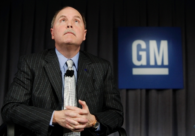 In this April 27, 2009 file photo, General Motors President and CEO Fritz Henderson listens to a conference call regarding the companies viability plan in Detroit.