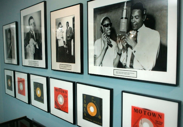 In this Jan. 20, 2006 photo, 45's and photographs, including Marvin Gaye and Stevie Wonder in photo at right, are displayed at the Motown Museum gallery in Detroit.
