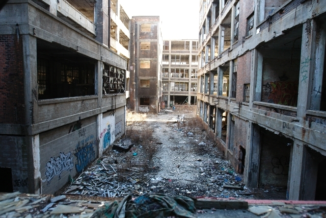 This Jan. 28, 2010 photo shows the abandoned 3.5-million-square-foot Packard car plant in Detroit.
