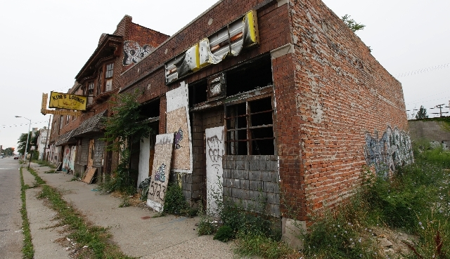 This July 27, 2011 file photo shows a section of vacant stores in Detroit.