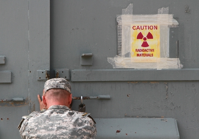 Lt. Col. Jason Crowe closes a radiation contaminated bunker at Ft. Bliss, Texas, Friday.