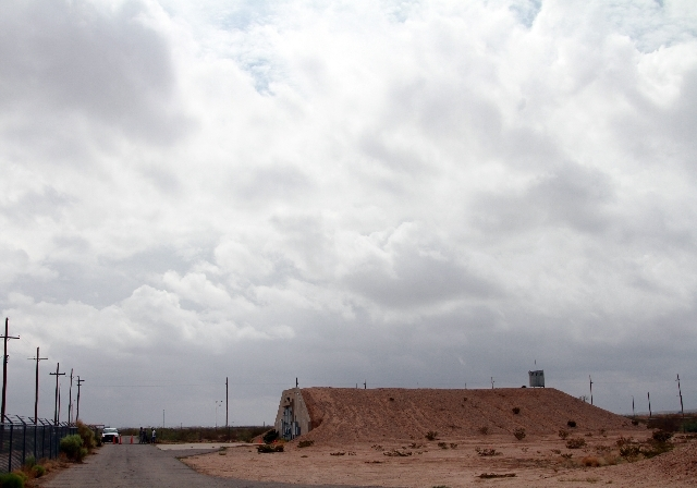A radiation contaminated bunker is seen at Ft. Bliss, Texas, Friday.