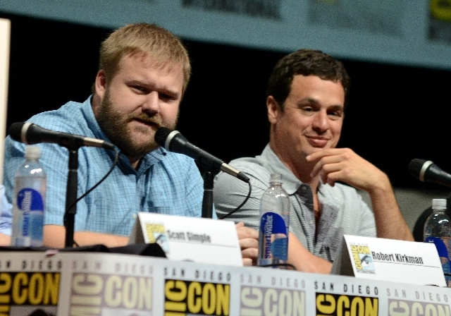 """Robert Kirkman, left, and David Alpert participate in """"The Walking Dead"""" panel on Day 3 of Comic-Con International on Friday in San Diego."""