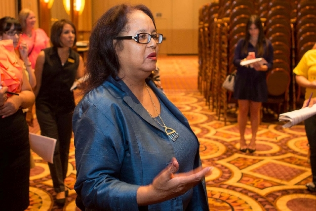 Phyllis James, executive vice president and chief diversity officer at MGM Resorts International, tours the area where the Women's Leadership Conference will be held at MGM Grand on Aug. 8 and 9.