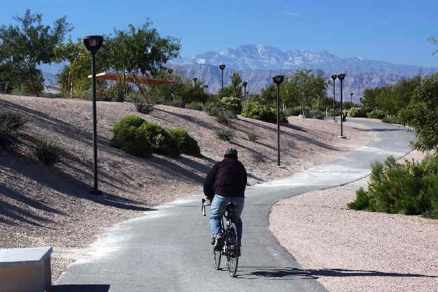 There are many bike paths for residents to use in the Las Vegas Valley, but bikers are allowed to ride on the sidewalks in Nevada.