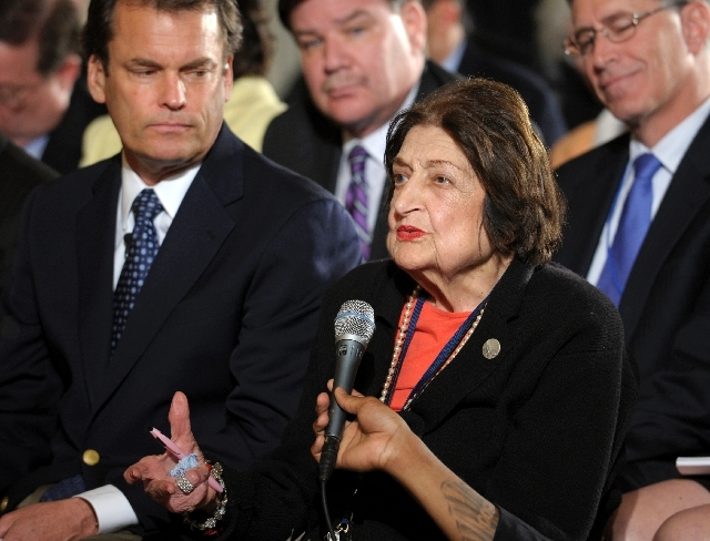 In this May 27, 2010, file photo veteran White House journalist Helen Thomas asks a question of President Barack Obama during a news conference in the East Room of the White House in Washington.