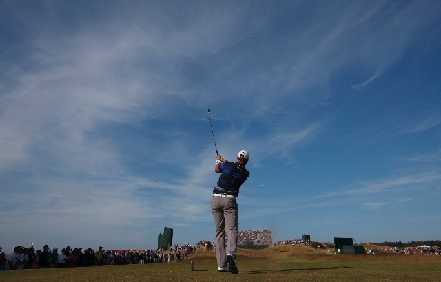 Henrik Swenson of Sweden plays the 14th hole of the British Open Golf Championship.