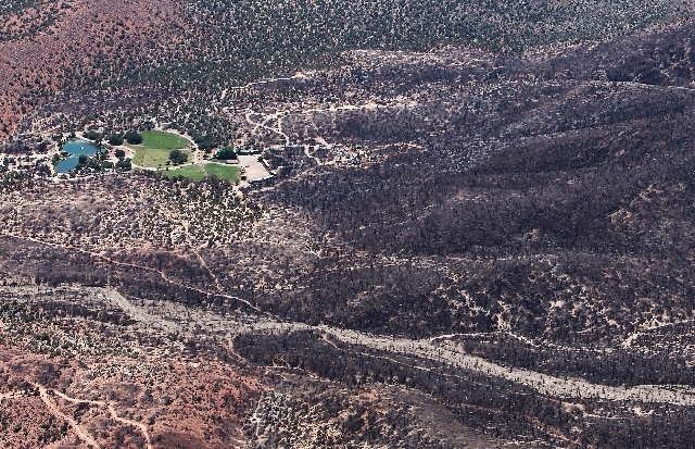 The aftermath of the Carpenter 1 Fire near Harris Springs is seen Saturday from the air above Mount Charleston. At the right in the photograph is an area charred by the wildfire, which came danger ...