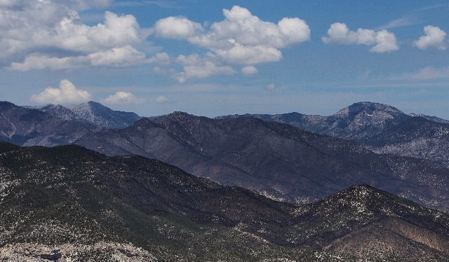 The aftermath of the Carpenter 1 Fire is seen from the air above Mount Charleston northwest of Las Vegas on July 20.