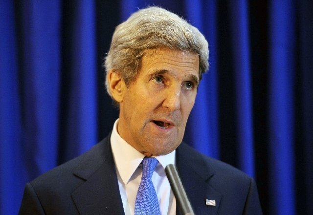 U.S. Secretary of State John Kerry speaks during a press conference at Queen Alia International Airport on Friday, July 19 in the Jordanian capital Amman.