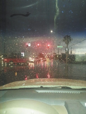 A photo of the road during the rain storm that hit Las Vegas on Friday.