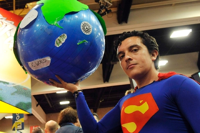 Bersain Gutierrez of Mexico City poses as Superman during the Comic-Con convention on Wednesday in San Diego.