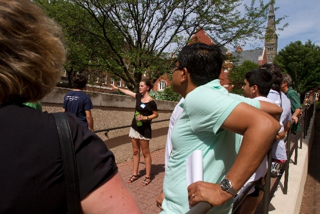Prospective students and their parents tour Georgetown University's campus in Washington, in this July 10 photo. Grants and scholarships are taking a leading role in paying college bills, surpassi ...