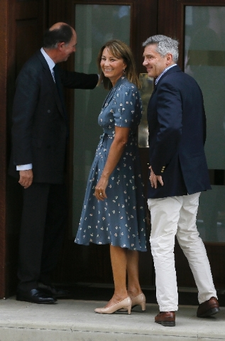 Carole and Michael Middleton, the parents of Kate, Duchess of Cambridge, arrive at St. Mary's Hospital exclusive Lindo Wing in London Tuesday July 23 where the Duchess gave birth on Monday July 22 ...